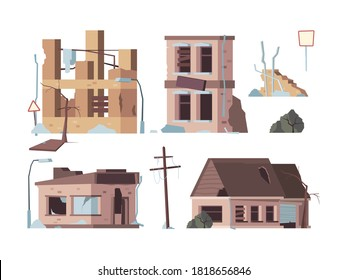 Abandoned houses. Old trouble damaged facade decayed exterior destroyed buildings vector flat pictures
