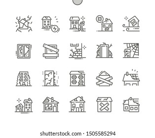 Abandoned houses Well-crafted Pixel Perfect Vector Thin Line Icons 30 2x Grid for Web Graphics and Apps. Simple Minimal Pictogram