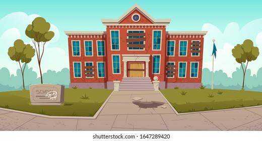 Abandoned old school with broken windows and boarded up door. Vector cartoon illustration of summer landscape with derelict dilapidated building, forgotten ramshackle house