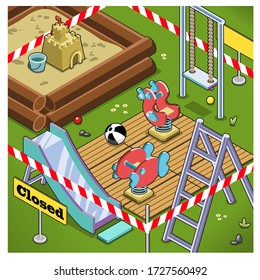 Abandoned playground fenced with warning tape (isometric view, vector illustration)