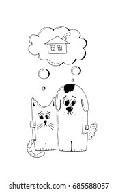 Abandoned puppy and kitten, adopt, animal cruelty, hand drawn illustration. Sad homeless puppy and kitten looking for a home, linear vector sketch