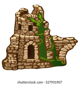 The abandoned ruins of an old stone house or fortress isolated on white background. The remains of medieval architecture. Vector illustration.