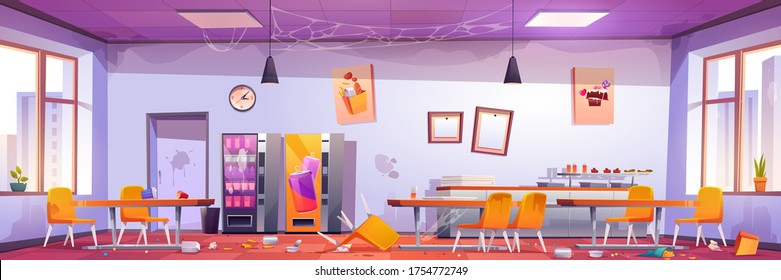Abandoned school cafe, crashed university canteen, dirty dining room with spider webs on walls, scattered rubbish and broken furniture, tables and chairs, vending machines, Cartoon vector illustration
