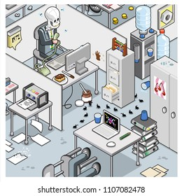 Abandoned and untidy cube farm office with skeleton holding phone, water dispenser, files and lots of papers spilled on the floor (isometric vector cartoon)
