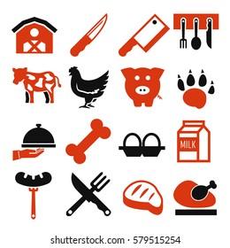 abattoir, butcher icon set