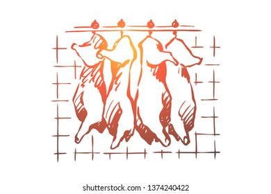 Abattoir, meat cutting, chopped pork, cattle carcasses hanging in freezer, refrigerator, raw, uncooked product