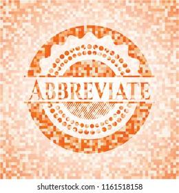 Abbreviate abstract orange mosaic emblem