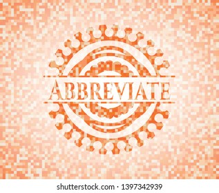 Abbreviate abstract orange mosaic emblem with background