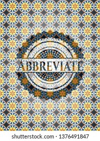Abbreviate arabesque emblem background. arabic decoration.