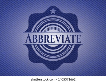 Abbreviate badge with denim texture. Vector Illustration. Detailed.