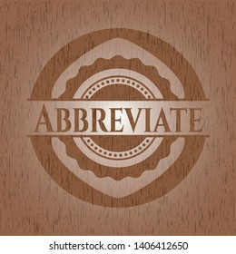 Abbreviate badge with wood background