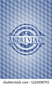 Abbreviate blue badge with geometric pattern background.