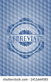 Abbreviate blue emblem or badge with abstract geometric pattern background. Vector Illustration. Detailed.