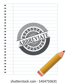 Abbreviate emblem draw with pencil effect. Vector Illustration. Detailed.