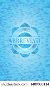 Abbreviate light blue emblem. Mosaic background