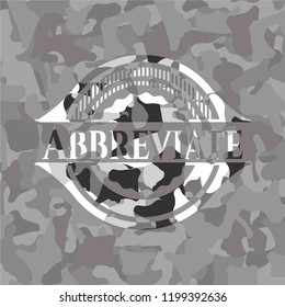 Abbreviate on grey camo pattern