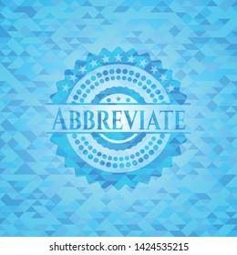 Abbreviate realistic light blue mosaic emblem
