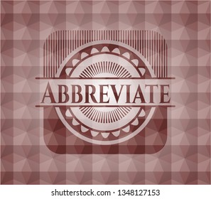 Abbreviate red seamless emblem with geometric pattern.