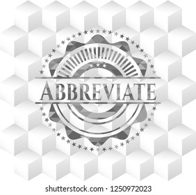 Abbreviate retro style grey emblem with geometric cube white background