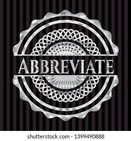 Abbreviate silvery emblem or badge. Vector Illustration. Mosaic.