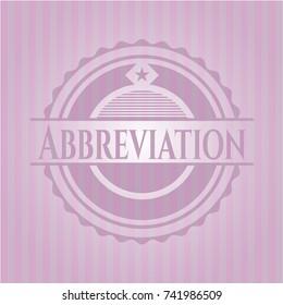 Abbreviation retro style pink emblem