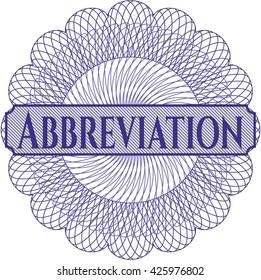 Abbreviation rosette or money style emblem
