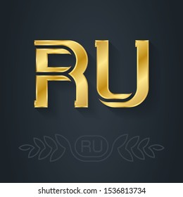 The abbreviation of Russia. R and U initial gold logo. RU - Metallic 3d icon or logotype template. Vector design element with lineart option.