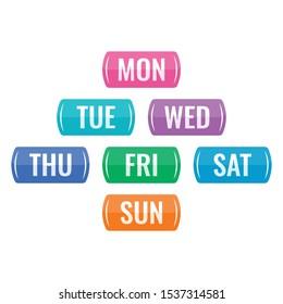 abbreviation of seven days a week. seven days a week buttons