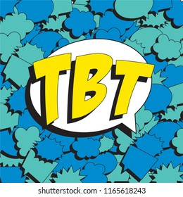 abbreviation tbt (throwback thursday) in retro comic speech bubble on colorful background