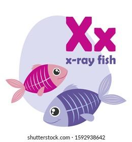 ABC Alphabet illustration. Vector cute kids animal alphabet. Letter X. Cute cartoon x-ray fish.