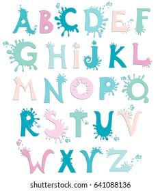 abc. Alphabet isolated on White background. Ink Splatter Alphabet. Vector illustration