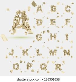 Abc alphabet type font set of vector letters broken into tiny glossy golden pieces