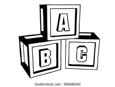 ABC blocks. Doodle style. Blocks put together on white background.