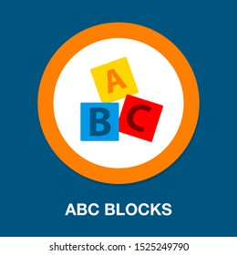 ABC blocks flat icon. Alphabet cubes with A,B,C letters in flat
