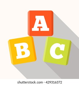 ABC blocks flat icon with long shadow. Alphabet cubes with A,B,C letters in flat.