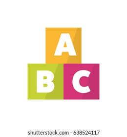 ABC blocks flat icon vector illustration