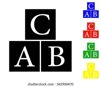 ABC blocks icon - colored vector set