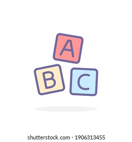 ABC blocks icon in filled outline style. For your design, logo. Vector illustration.