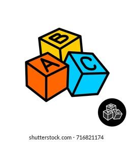 ABC blocks with letters vector logo. Color 3D cubes icon. Children education toys symbol.