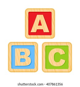 ABC blocks. Wooden alphabet cubes with A,B,C letters. 10eps