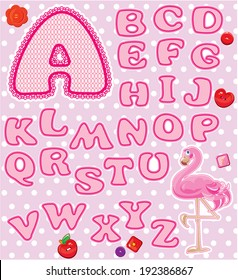 ABC - Childish alphabet - letters are made of pink lace and ribbons  - version for baby girl.