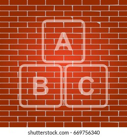 ABC cube sign illustration. Vector. Whitish icon on brick wall as background.