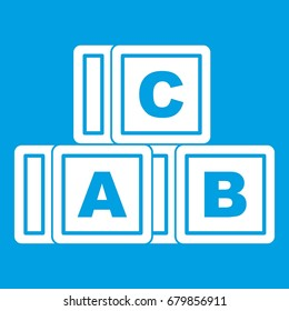 ABC cubes icon white isolated on blue background vector illustration