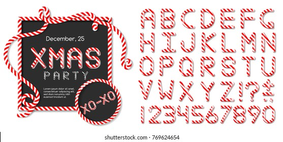 ABC - festive vector alphabet letters set. Christmas party candy cane font.  Sweet lollipop comic font. Cartoon lettering template for invitations, poster, greeting card on Christmas and New Year.