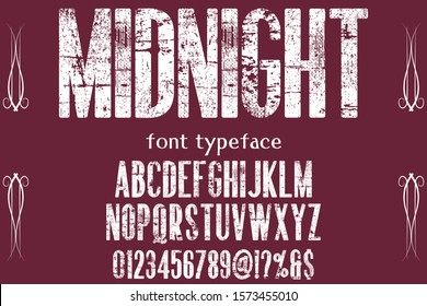 abc Font alphabet Script Typeface.Shadow Effect.vintage Hand Drawn.Retro Typography.Vector Illustration named midnight