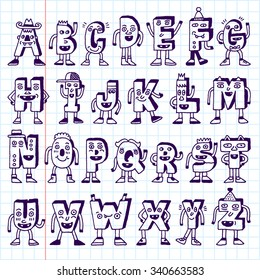 ABC Funny Alphabet Characters. Wacky Doodle Letters Design  Set. Vector Hand Drawn Illustration. School Notebook.