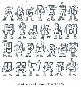 ABC Funny Alphabet Characters. Wacky Doodle Letters Design Color Set. Vector Hand Drawn Illustration.