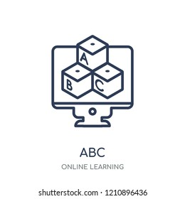 Abc icon. Abc linear symbol design from Online learning collection.