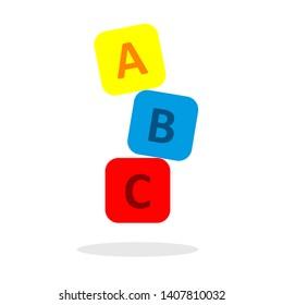ABC icon on a rectangular box arranged in vector