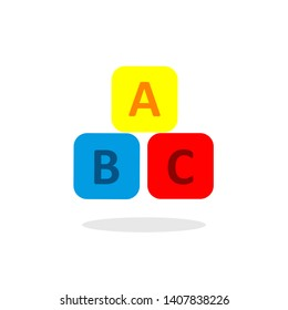 ABC icon on a rectangular box arranged in vector